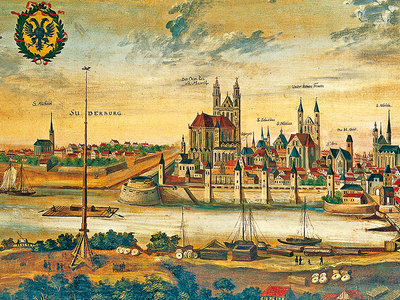Magdeburg vor der Zerstörung 1631, nach einem Stich von Jan van de Velde